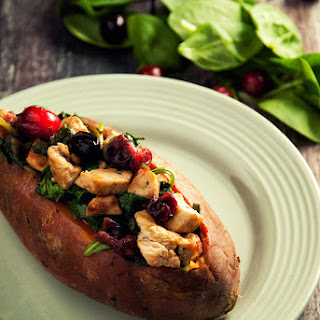 Chicken and Cranberry Stuffed Sweet Potatoes