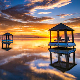 Twin Bale of Semawang by Ren Ega - Landscapes Beaches ( bali, bale, sanur, sunrise, landscape )