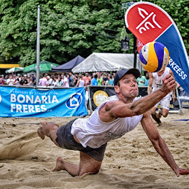 Saving Dive by Marco Bertamé - Sports & Fitness Other Sports ( sand, ball, sandsummer, beach volley, dive, saving, beach, man, beach open, luxembourg )