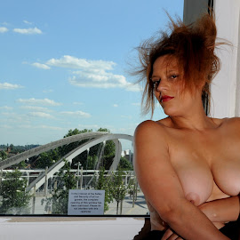 by DJ Cockburn - Nudes & Boudoir Artistic Nude ( footbridge, england, woman, mixed race, london, britain, art nude, home shoot, white horse bridge, wembley stadium station, portrait, building, miss v, wembley, off camera flash, white sheer, fabric, punk, uk, model )
