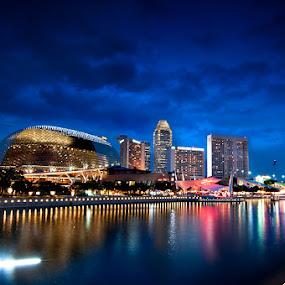 Esplanade by Mario Wibowo - City,  Street & Park  Vistas ( blue, mario wibowo, cityscape, nikon, singapore, fotorio )