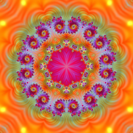 Mandala 2 by Cassy 67 - Illustration Abstract & Patterns ( orange, kaleidoscope, abstract art, bright, colorful, digital art, fractal, fractals, digital, mandala )