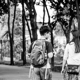 First walk together by Prosenjit Saha - People Couples ( love, black and white, street, couple, together,  )