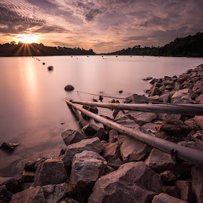 SGSunset by Marklin Ang - Landscapes Waterscapes ( water, clouds, sky, sunset, singapore )