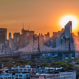 New York at Sunset by George Petropoulos - City,  Street & Park  Skylines ( skyline, sunset, new york city, new york, sun, mood factory, color, lighting, moods, colorful, light, bulbs, mood-lites )