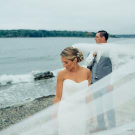 Ocean Side by Joe Martin - Wedding Bride & Groom ( wedding photography, wedding, new hamsphire, ocean, beach, bride and groom )