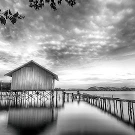 Rumah Danau by Geoffrey Saturnus - Black & White Landscapes