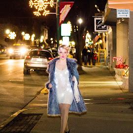 Walking Lights by Herschel Zahnd - City,  Street & Park  Street Scenes