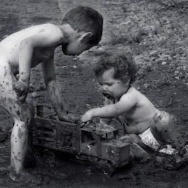 Mud Larks by Susan Van Wyk - Black & White Portraits & People ( mud, white, children, black )