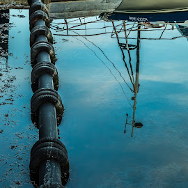 Reflection by Edvald Geirsson - Nature Up Close Water ( reflection, iceland, reykjavik, harbour, boats, sea )