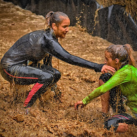 Lady Time by Marco Bertamé - Sports & Fitness Other Sports ( water, ladies, splatter, splash, differdange, 2015, green, waterdrops, soup, luxembourg, two, sitting, mud, helping, strong, drops, dirty, brown, strongmanrun )