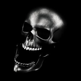 Human Skull On Black Background 3D Rendering by Aleksandar Ilic - Illustration Cartoons & Characters ( magic, treat, death, dangerous, trick or treat, dead, trick, anger, hell, antichrist, head, happy halloween, 3d, skeleton, halloween, holidays, design, fire, scary, skull, human, element, witchcraft, jaw, art, horror, old, festival, smoke, bone, crossbones, rendering, lantern, corps, satanic, animation, 3d render, magical, sorcery, light, crazy, illustration, style, october, evil, party )