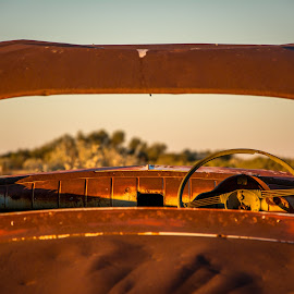 Through the missing window by Simon Maddock - Transportation Automobiles ( car, australia, vehicle, outback, antique, abandoned )
