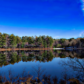 Hayes Lake by Janice Mcgregor - Landscapes Waterscapes ( water, clouds, reflection, sky, blue, lakes, contest, trees )