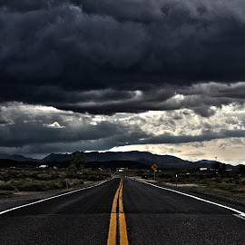 Stormy Road by Braidon Everts - Landscapes Travel ( nevada, weather, travel, road, landscape, storm, rain )