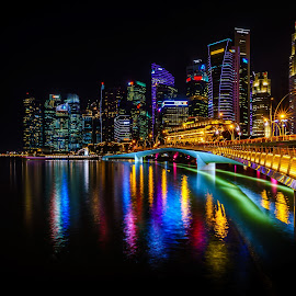Singapore by Nikolay Titev - City,  Street & Park  Night ( water, lights, buildings, long exposure, night, cityscape, bride, singapore, city )
