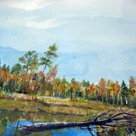 Fall is coming... by Morris Kleyman - Painting All Painting ( time, seasons, watercolors, colors of nature..., landscapes )