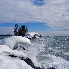 Splashing the Ice! by Sandra Updyke - Landscapes Waterscapes ( february, waves, ice, north shore, lake superior, tombolo )