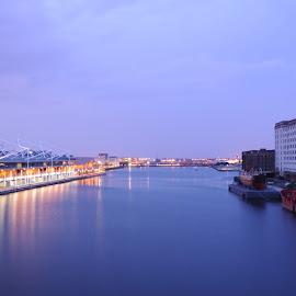Docklands Twilight by DJ Cockburn - City,  Street & Park  Skylines ( millennium mill, thames, london, lightship, royal victoria dock )