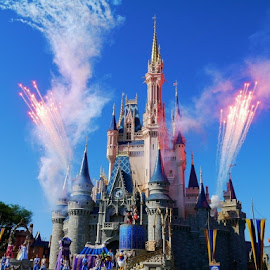 Fireworks by Carson Satchwell - City,  Street & Park  Amusement Parks ( princess, disney world, firework, castle, sparks, disney, world, cinderella )
