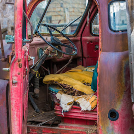 Old Pickup by Carl Albro - Artistic Objects Industrial Objects ( interior, red, truck )