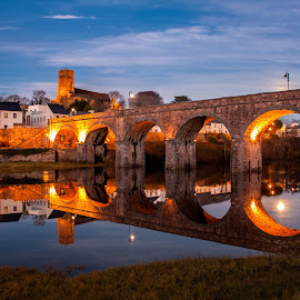 Twilight in Newport by Jaroslaw Gorowski - Buildings & Architecture Bridges & Suspended Structures ( ireland, old bridge, twilight, newport, town, bridge, river )