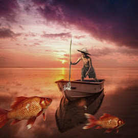 in a dream by Kathleen Devai - Digital Art People ( fantasy, sunset, sea, fishing, surreal, boat, boy, goldfish )