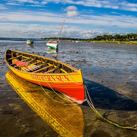 Norther Sun on Mud Flats by Carl Albro - Transportation Boats ( clouds, sculling, mud, rowing, boat )