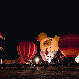 Moon Glow by Andy Chow - Transportation Other ( ballooning, night, glow, hot air balloons, burners )