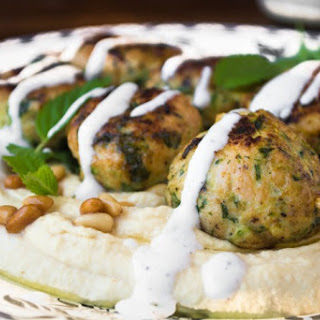 Hummus with Turkey & Zucchini Meatballs