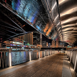 Chicago Riverwalk Reflections by John Williams - City,  Street & Park  Night ( night lights, riverwalk, city lights, reflections, night, chicago )