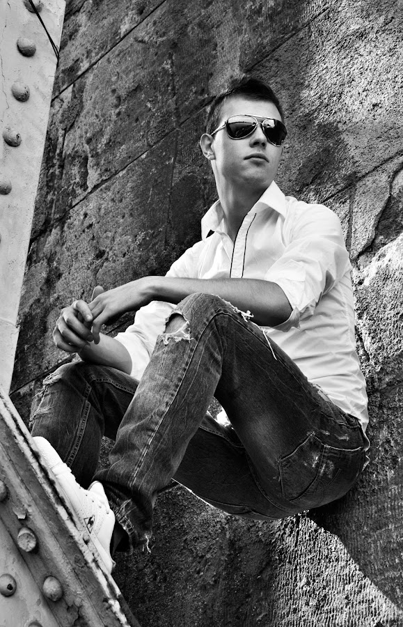 Under the Bridge by Aleks Markelj - People Portraits of Men ( jeans, sunglasses, man, wall, shirt )