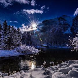 Sunrise over the lake by Vernie Gillespie - Landscapes Mountains & Hills ( snow, lake, sunrise, landscape, sun )