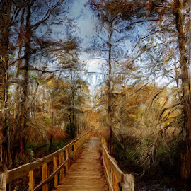 Walkway at Lake Martin by Ron Olivier - Digital Art Things ( walkway at lake martin )