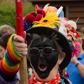 Attack! by Marc Steele - People Musicians & Entertainers ( countryside, uk, morris, wellow, may day, black pig border morris, rural, pig, country, england, bank holiday, nottinghamshire, event, dancer, black )