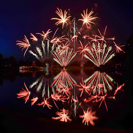 Reflections on the LAke by Holly Dean - Abstract Fire & Fireworks ( lights, reflection, fireworks, night, celebration,  )