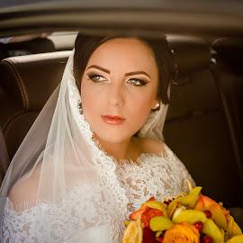 Sunshine by Anamaria Roman - Wedding Bride ( car, makeup, important, vail, skin, soft, eyes, wedding, sunset, day, bride, flowers, leather, black )