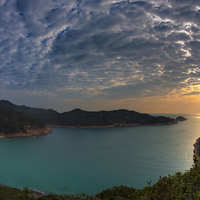 Beaming through by Anthony Lau - Landscapes Cloud Formations ( cloud formations, hong kong, sun rise, sai kung, sea, rock, beach, pwcsunbeams, long ke, light, coast )