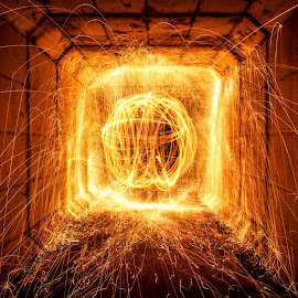 Tunnel of fire by Paul Stonehouse - Abstract Light Painting ( light painting, light trails, long exposure, fire, tunnel )