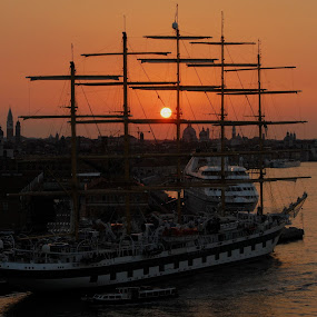 Sunrise in venice by Jim Schlett - Transportation Boats ( sunrise, venice, dusk, sunsets, boats, sun, italy )
