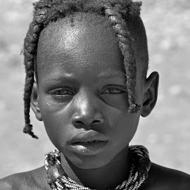 Young girl Himba. by Lorraine Bettex - Black & White Portraits & People (  )