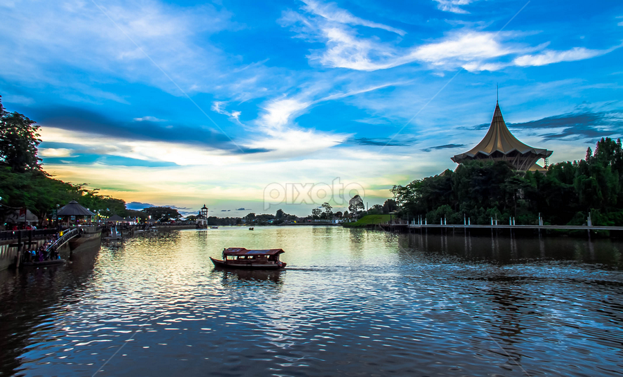 Daily commute. by Victor Sim - Transportation Boats ( sky, transport, boats, cloud, travel, river )