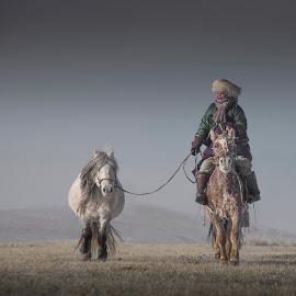 Mongolian horseman by Borjigon Bayasal - Uncategorized All Uncategorized