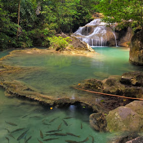 Erawan Waterfall No.2 by Reinhard Latzke - Landscapes Waterscapes ( thailand, erawan nationalpark, kanchanaburi )