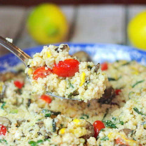 Mediterranean Couscous with Grilled Vegetables, Lemon & Goat Cheese