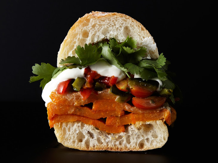 Roasted Sweet Potato Sandwich with Rajas Salsa Recipe | Yummly