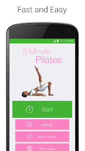 5 Minute Pilates Fitness app screenshot for Android