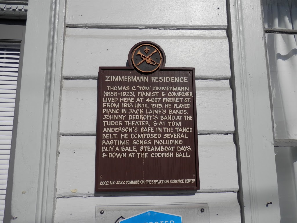 """Thomas C. """"Tom"""" Zimmermann (1888-1923), pianist & composer, lived here at 4607 Freret Street from 1913 until 1915. He played piano in Jack Laine's band, Jonny Dedroit's band, at the Tudor Theater, & ..."""