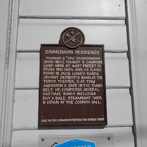"Thomas C. ""Tom"" Zimmermann (1888-1923), pianist & composer, lived here at 4607 Freret Street from 1913 until 1915. He played piano in Jack Laine's band, Jonny Dedroit's band, at the Tudor Theater, & ..."