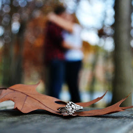 Engagement by Katrina Gordon - People Couples ( love, kiss, ring, hug, autumn, fall, embrace, leaf, leaves, engagement )